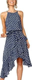 Womens Boho Polka-dot Tie Waist Irregular Cocktail Midi Dress Sleeveless Halter Neck Sexy Sundress S-3XL