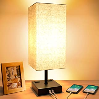 Touch Table Lamp, 3-Way Dimmable Touch Lamp Bedside Lamp with 2 USB Charging Ports and 2..