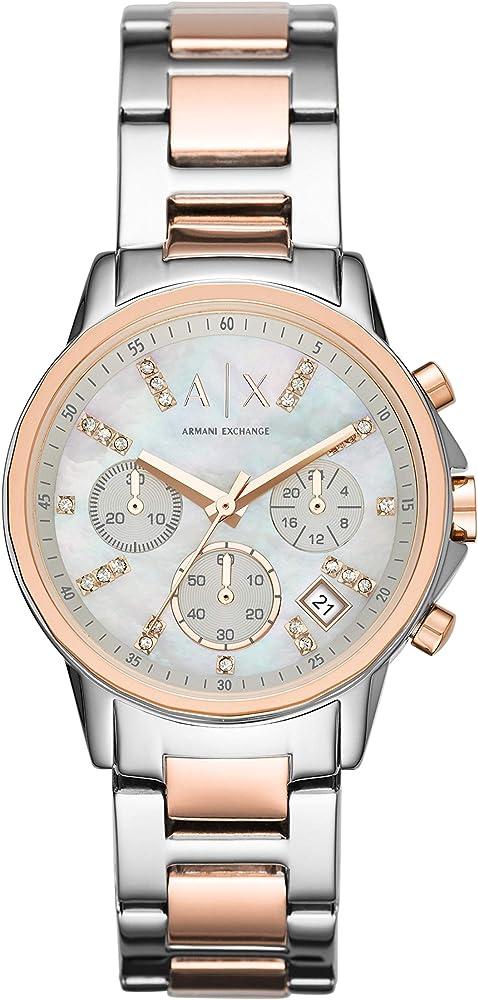 Armani exchange orologio, cronografo da donna,in acciaio inossidabile bicolore, e cristalli sul quadrante AX4331