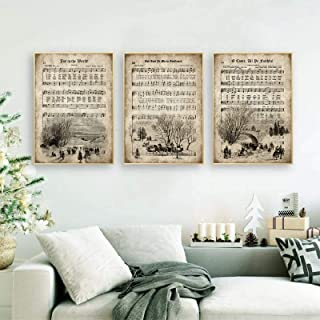 Vintage Christmas Carols Wall Art Posters and Prints Sheet Music Hymn Aged Antique Canvas Art Painting Home Decor Picture ...