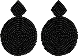 Small Black Diamond Shape Top/Round Seedbead Pierced Earrings