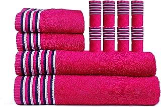 Trident Lot de 4 Serviettes de Bain et Mains en Coton color/é Ultra Doux Other Violet