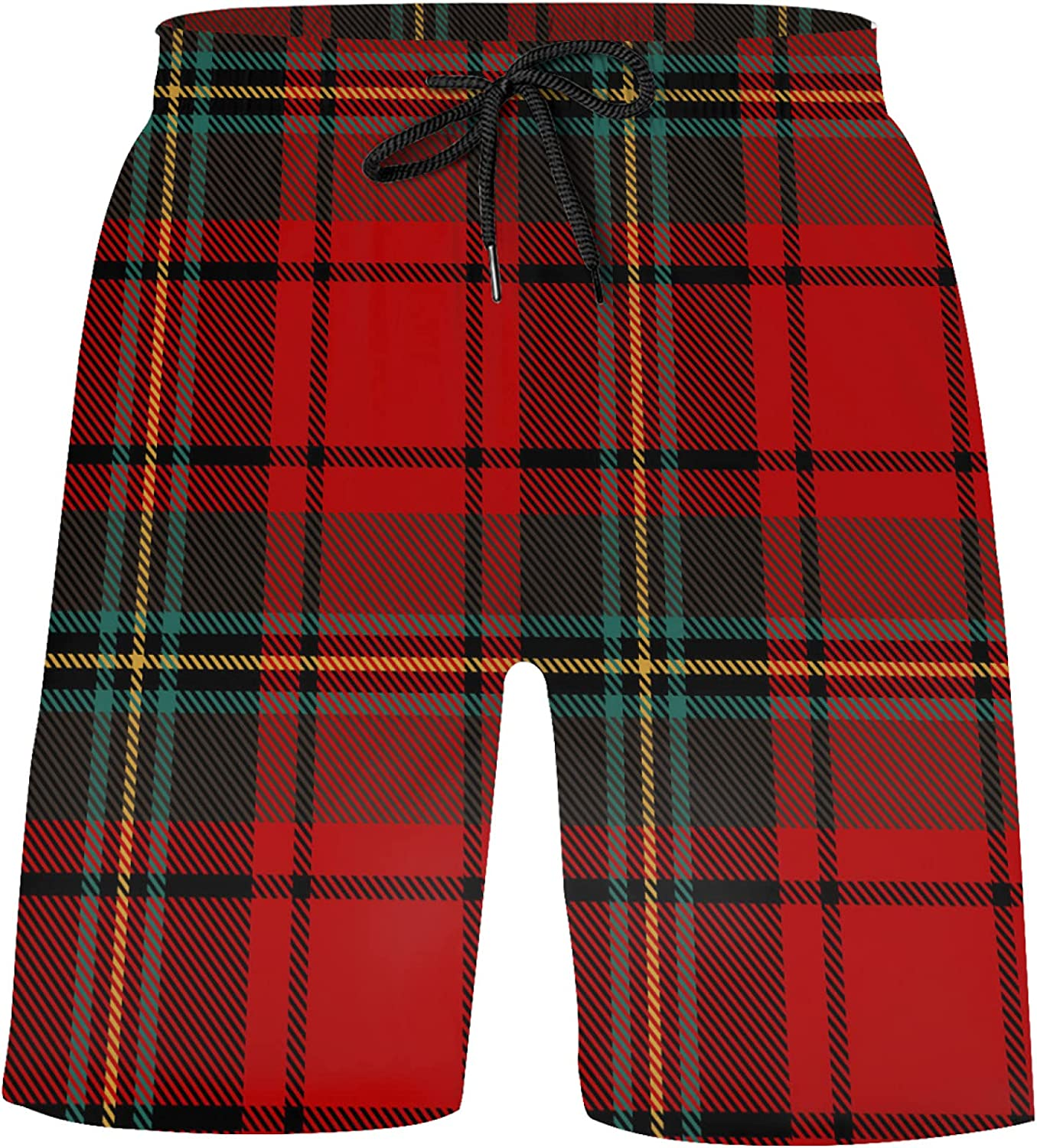 N A Black, Green, Red and White Tartan Scottish Check Boys Bathing Suits Athletic Board S