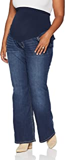 Women's Maternity Indigo Blue Stitched Pocket Secret Fit...