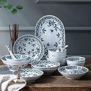 Ensembles de table en céramique, ensemble de vaisselle en porcelaine bleue et blanche de 45 bols de céréales Simplicity et...