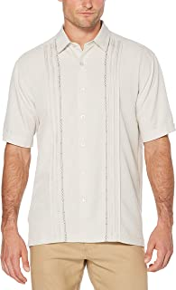 Cubavera Men's Tuck with Geometric Detail Short Sleeve Woven Shirt