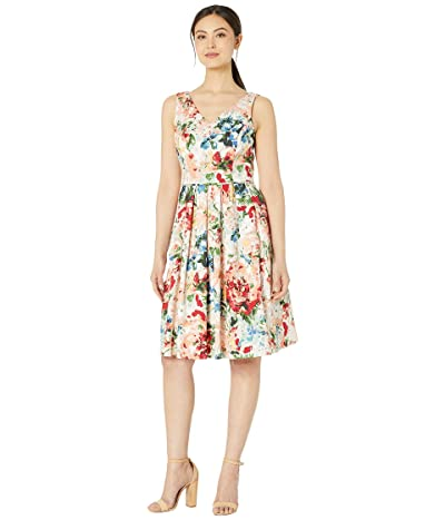Tahari by ASL Cotton Sateen Water Color Floral Party Dress (Painted Garden) Women