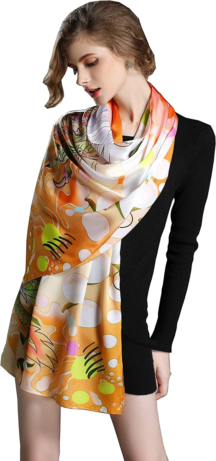 Spring Air Women's 100% Charmeuse Silk Fashion Scarf, Long Shawl Wrap£ Headscarf
