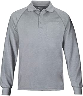 Men's Long Sleeve Moisture Wicking Performance Solid Golf Polo Shirt with Pocket
