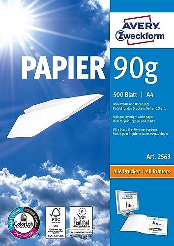 Avery Zweckform 2563 Papier Qualité premium pour imprimantes laser et jet d'encre Sans bois, blanc, vierge, pour copi...