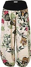 BAISHENGGT - Pantalones de harén con cintura elástica y estampado floral para mujer