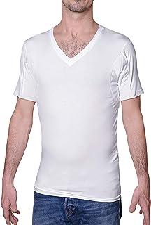 Sweatproof Anti Sweat Undershirt for Men, V-Neck, White, Micromodal