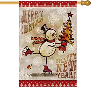 AVOIN Skating Snowman House Flag Vertical Double Sized, Merry Christmas Happy New Year Burlap Yard Outdoor Decoration 28 x 40 Inch
