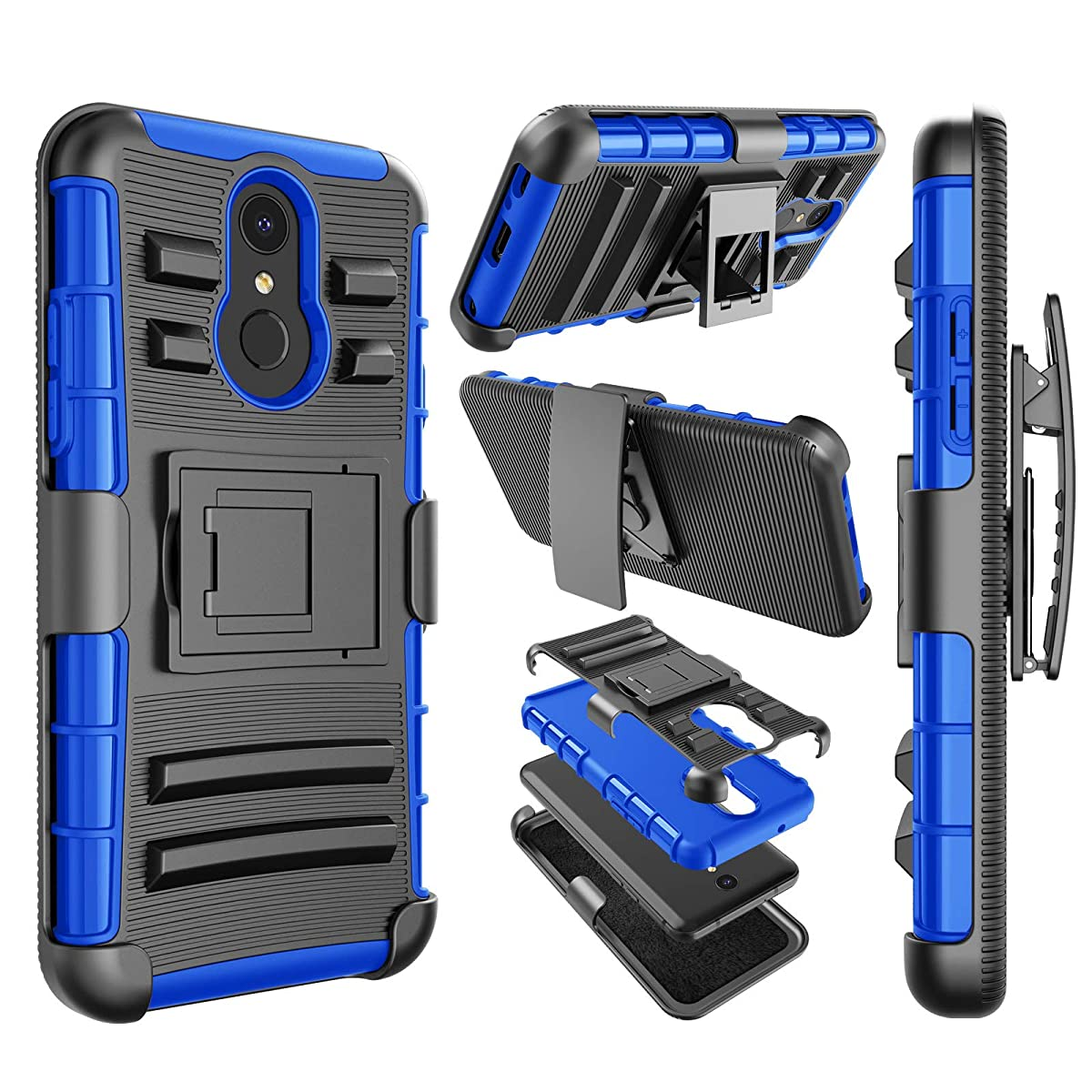 Njjex LG Q7 Case, for LG Q7 Plus Case, LG Q7 Alpha Holster Clip, [Ngate] Armor Shockproof Locking Swivel Belt Clip Kickstand Heavy Duty Defender Full Body Carrying Phone Cover for LG Q7+ 2018 [Blue]