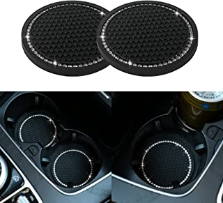 JUSTTOP Car Cup Holder Coaster, 2 Pack Universal Auto Anti Slip Cup Holder Insert Coaster, Bling Crystal Rhinestone Car In...