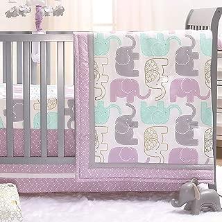 Little Peanut Lilac Purple and Gold Elephants 3 Piece Baby Crib Bedding Set