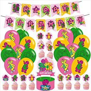 Barney Barny and Friends Party Decoraions,Barney Party Supplies, Barney and Friends Theme Birthday Party Decorations for Kids Adults with Happy Birthday Banner Cake Topper Cupcake Toppers Balloons