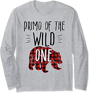 Primo of the Wild One Buffalo Plaid Lumberjack 1st Birthday Long Sleeve T-Shirt