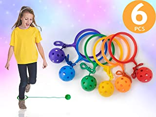 Skip Jump Ball Set - Pack of 6 - Variety Colors - Best Swing Ball Game for Boys Girls and Kids. Fun Excercise, Coordinate, Balance, Fitness, Active and Smile. Play Indoor and Outdoor