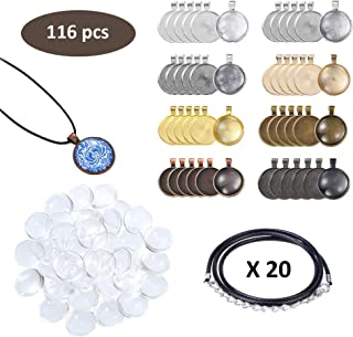 Miukada 116 Pieces Pendant Trays Set-8 Different Colors 48 Pieces Round Pendant Trays,40 Pieces Bright Glass Cabochon Dome Tiles and 20 Pieces Black Waxed Necklace Cord for Photo Pendant Crafting