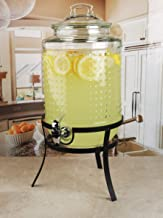 Circleware Vintage Dots Beverage Dispenser with Metal, Glass Lid & Handle, Fun Party Home Entertainment Glassware Water Pi...
