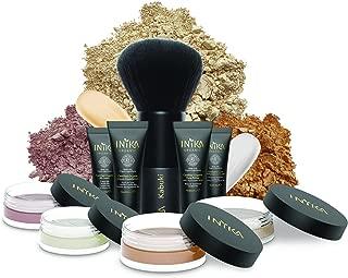 INIKA Face In A Box, Makeup Gift Set, Essentials Starter Beauty Kit, All Natural Formula, Travel Sizes : Primer, Foundation, Bronzer, Concealer, Blush, Vegan Kabuki Brush (Nurture)
