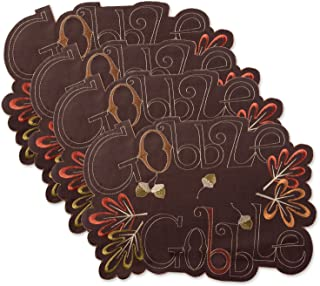 DII Polyester Placemat, Set of 4, Embroidered Gobble Gobble - Perfect for Fall, Thanksgiving, Friendsgiving and Dinner Par...