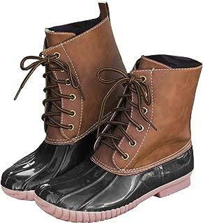 Women's Lace Up Two Tone Combat Waterproof Duck Rain Boot Outdoor Shoes