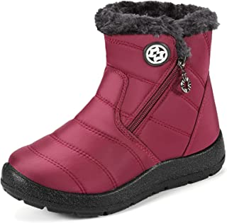 Sponsored Ad - KVbabby Winter Snow Boots Slip-on Water Resistant Booties Boy's Girl's Anti-Slip Lightweight Ankle Boots Fu...