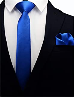 "GUSLESON 2.4"" Slim Necktie and Handkerchief Set For Men Solid Skinny Tie Brooch Set"
