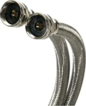 Fluidmaster B9WM60HE High Efficiency Washing Machine Connector, Braided Stainless Steel - 3/4 Hose Fitting x 3/4 Hose Fitting, 5 Ft. (60-Inch) Length
