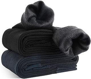 Pack de 2 Leggings para Mujer, Cálido Invierno Terciopelo Elástico Leggings, Térmico Grueso Forro Terciopelo Forrado Pantalones para Niña Mujer, Negro y Gris