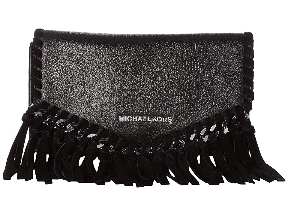 MICHAEL Michael Kors 16 mm (0.6) Fringe Belt Bag (Black/Silver Suede/Pebble) Women