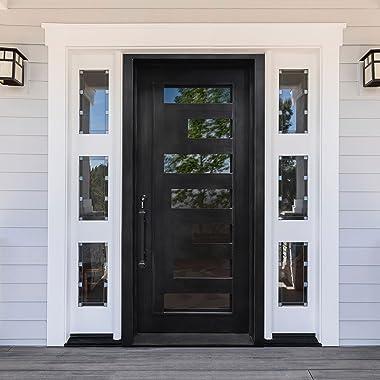ALEKO IDQ4096BK10 Iron Square Top Minimalist Door with Frame and Threshold 40 x 96 Inches Matte Black