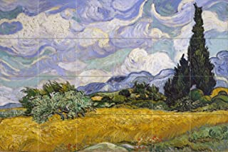 Wheat Field with Cypresses by Vincent Van Gogh Tile Mural Kitchen Bathroom Wall Backsplash Behind Stove Range Sink Splashback 6x4 4.25
