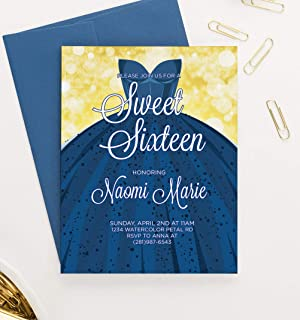 Blue Sweet 16 Invitations with Envelopes, Personalized Sweet 16 Invites, Navy Blue Dress 16th Birthday Invitations for Girls, Your choice of Quantity, Info and Envelope Color