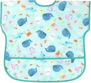 Bumkins Junior Bib, Short Sleeve Toddler Bib, Smock for Kids 1-3 Years, Waterproof Fabric – Ocean Life