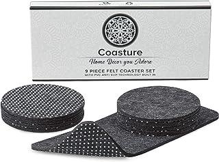Coasture - 9 Absorbent Felt Coasters for Drinks with Multipurpose Holder - PVC Anti Slip Dot Backing - Drink Coaster Set - Coasters for Home, Office - Coffee Table - Kitchen Decor - Housewarming Gift