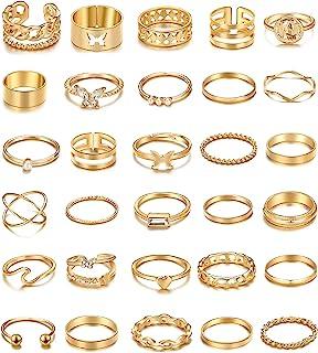 30 قطعة خمر الفضة الخراتم مجموعة، بوهو فراشة ثعبان خواتم الإصبع القابلة للتكديس للنساء الفتيات، حزمة خواتم ميدي الذهب