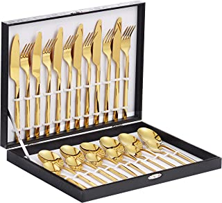 Velaze 24-Piece Gold Silverware Set Cutlery Set, Stainless Steel Utensils Service for 6 Person Include Dinner Spoon, Dinner Fork, Dinner Knife and Tea Spoon, Mirror Polished Design
