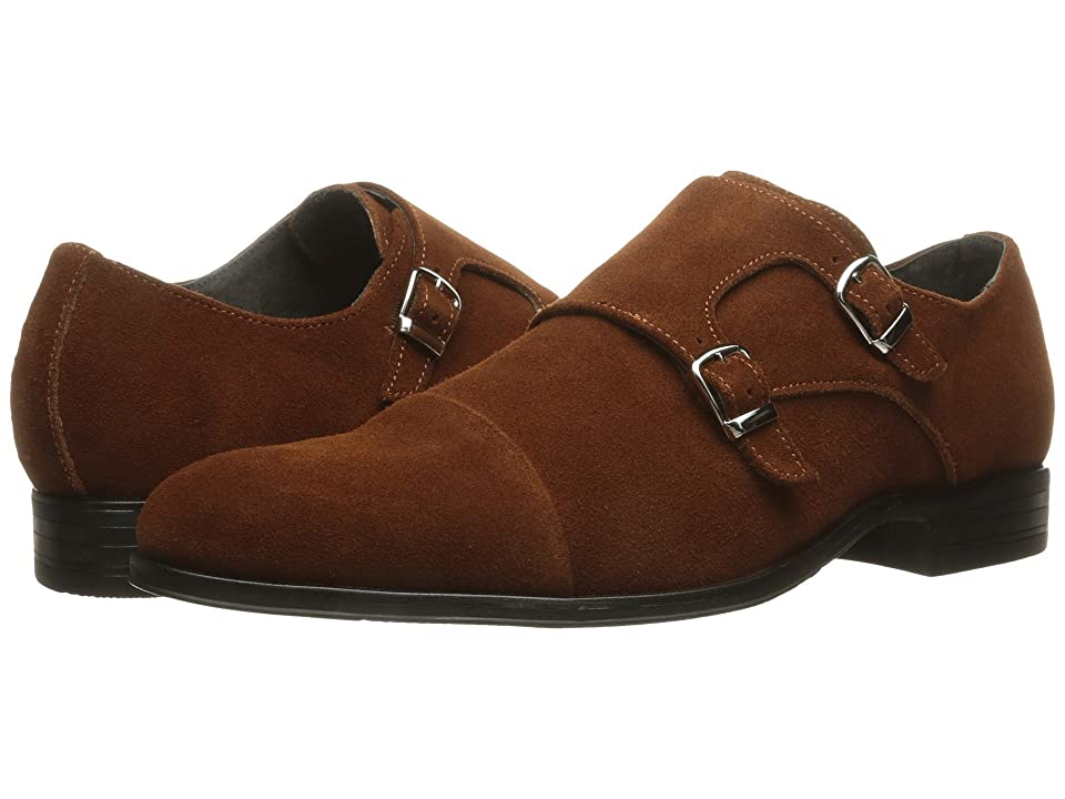 Stacy Adams Slocomb Cap Toe Double Monkstrap (Cognac Suede) Men