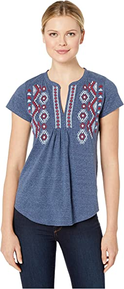 2596 Heather Jersey Peasant Top