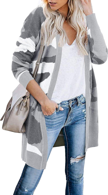 Tutorutor Womens Open Front Camo Long Cardigan Sweaters Oversized Leopard Patchwork Kimono Duster Coat