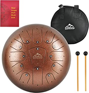 EastRock Steel Tongue Drum, 13 Notes 12 Inch Pan Drum Percussion Steel Drum Instrument with Mallets, Mallet Bracket,Tonic Sticker and Music Book(Coffee Color)