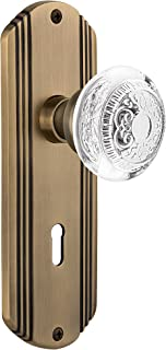"""Nostalgic Warehouse 751420 Deco Plate With Keyhole Crystal Egg & Dart Privacy Door Knob, Antique Brass, 2.375"""""""