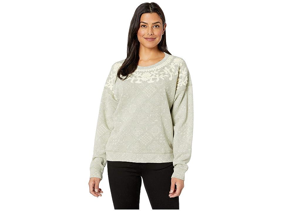 Lucky Brand Chenille Print Pullover Sweatshirt (Iceberg Green) Women