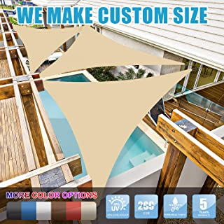 Amgo 16' x 16' x 16' Beige Triangle Sun Shade Sail Canopy Awning, 95% UV Blockage Water & Air Permeable, Commercial & Residential, for Patio Yard Pergola, 5 Yrs Warranty (Available for Custom Sizes)