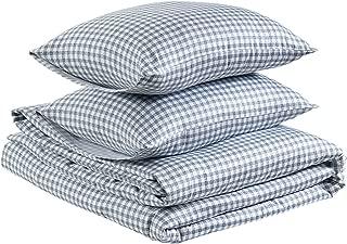 AmazonBasics Organic Sateen Cotton Duvet Comforter Cover Set, King, White Check