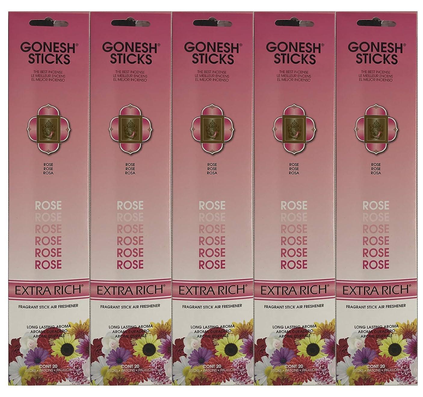 レスリングナイロンお世話になったGonesh Incense Sticks Extra Richコレクション?–?ローズ5パック(合計100?)