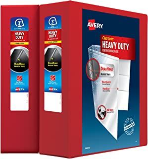 Avery Heavy-Duty Clear View 3 Ring Binders, 3 Inch EZD Rings, 2-Pack of Red Binders (39701)